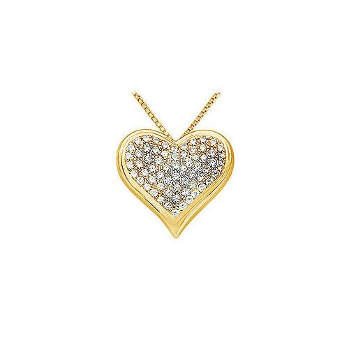 Diamond Heart Pendant : 14K Yellow Gold - 1.25 CT Diamonds
