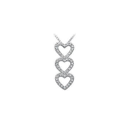 Diamond Heart Pendant : 14K White Gold - 0.40 CT Diamonds