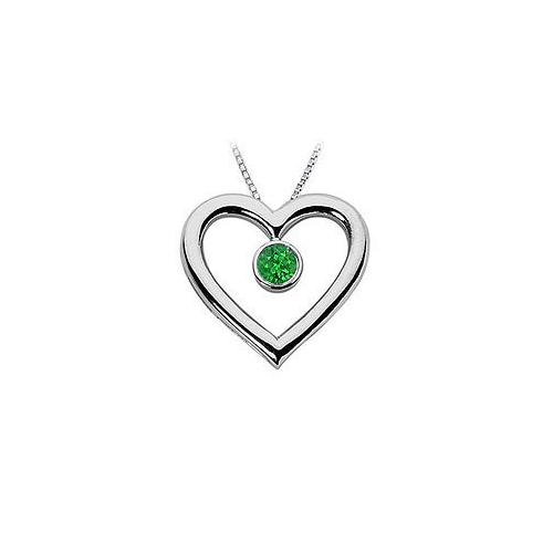 Emerald Heart Pendant : 14K White Gold - 0.50 CT TGW