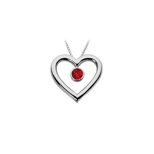 Ruby Heart Pendant : 14K White Gold - 0.50 CT TGW