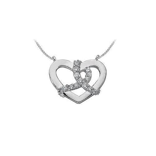 Diamond Heart Pendant : 14K White Gold - 0.50 CT Diamonds