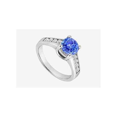 Channel set Diamonds and Natural Tanzanite Engagement Ring in 14K White Gold 1.40 Carat TGW