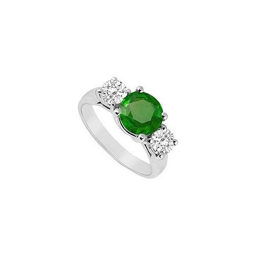 Three Stone Emerald and Diamond Ring : 14K White Gold - 2.00 CT TGW