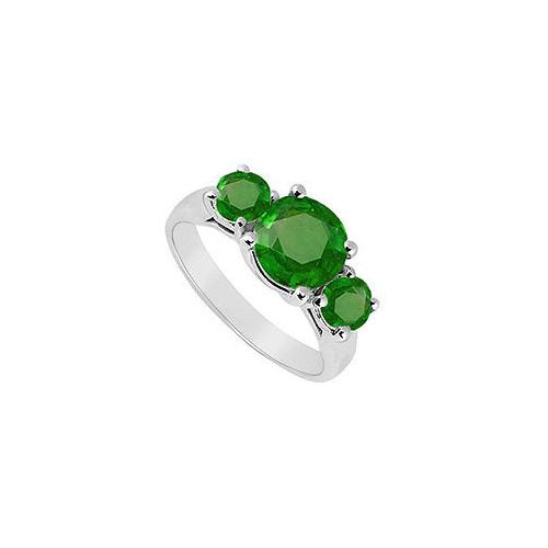 Three Stone Emerald Ring : 14K White Gold - 2.00 CT TGW