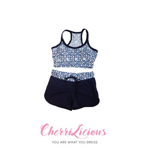 Water Sports Top & Pants Set </br> 藍色圖騰水上運動背心短褲套裝 - You Are What You Dress