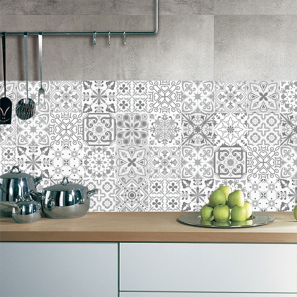 10/15/20/30cm Retro Pattern Tile Floor Sticker