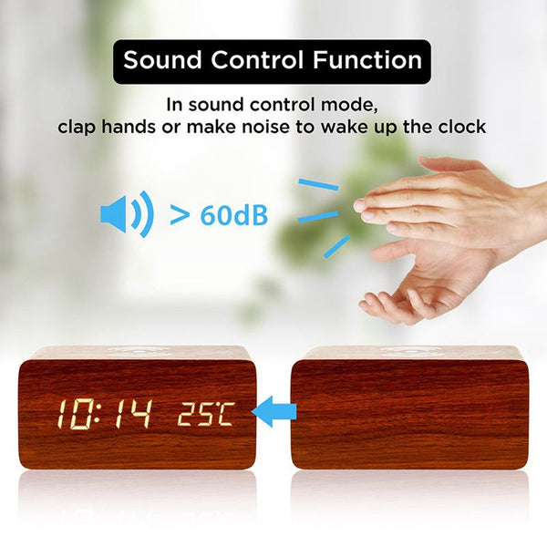 Wood Led Clock & Wireless Charging Pad