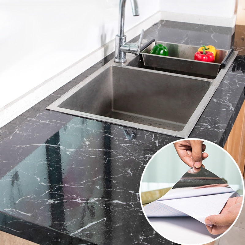 Kitchen Marble Pattern Oilproof Stickers