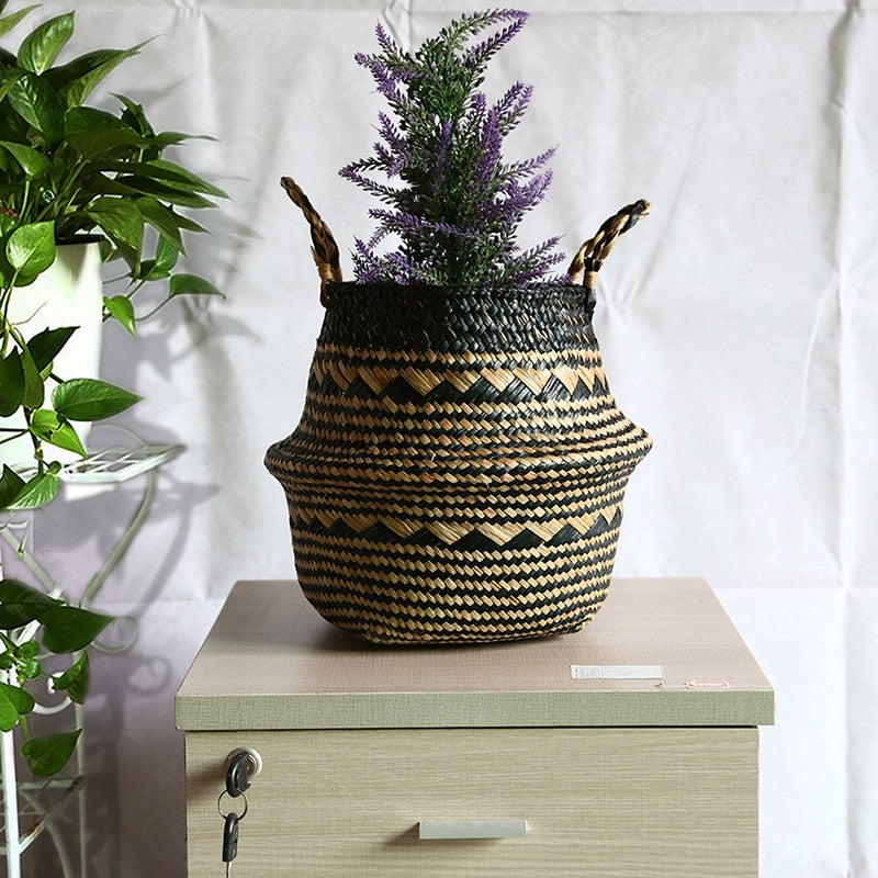 Rattan Storage Basket & Flower Pot
