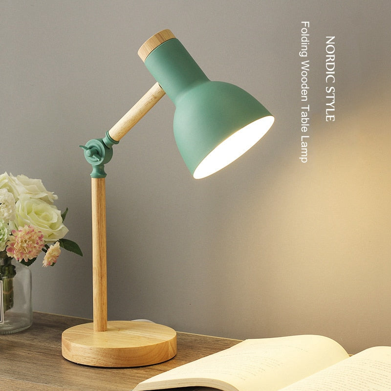 Creative Nordic Wooden Art Iron LED Folding Simple Desk Lamp