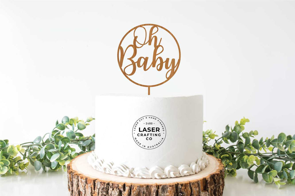 Decorative 'Oh Baby' Cake Topper