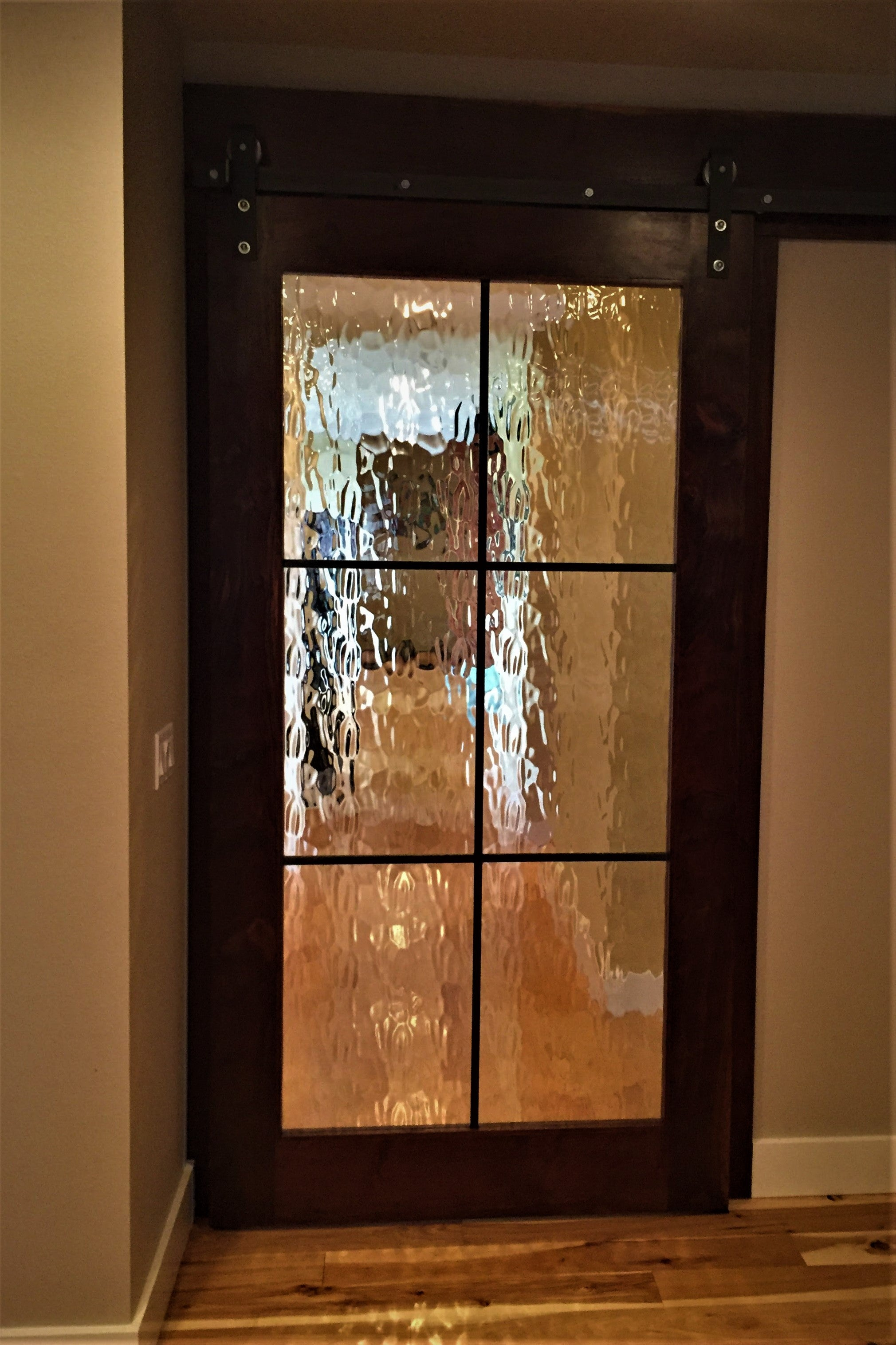 Western Walnut Sliding Door With Flemish Glass And Soft Close