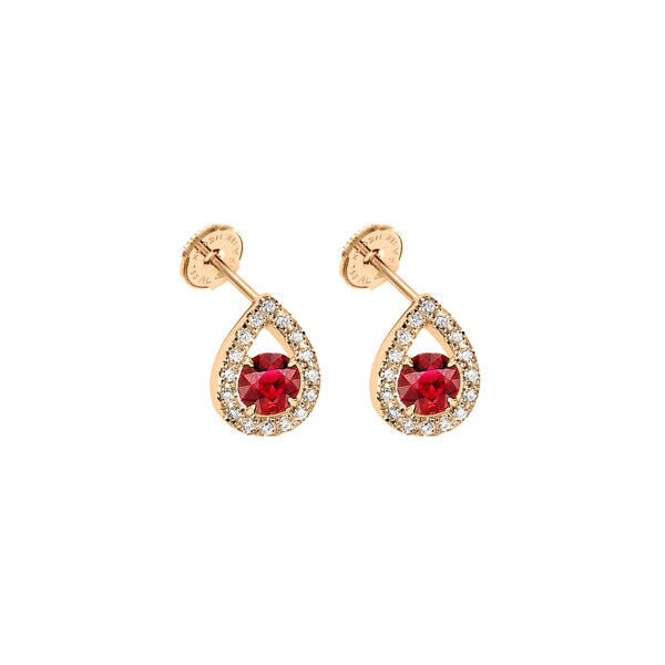 Boucles d'oreilles Waterdrops Rubis or rouge