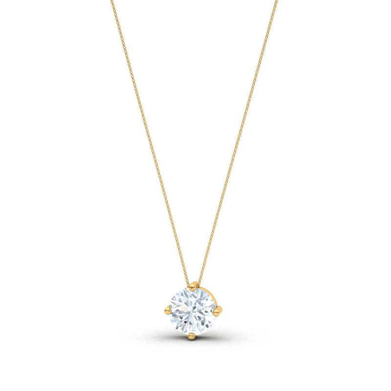 Collier Solitaire 4 Griffes, Or Jaune