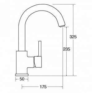 TC57 - Side Single Lever Tap With Swan Neck Spout