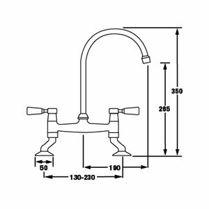 TT56 Traditional Bridge mixer tap