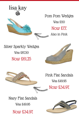 Footwear sale 30% off lisa kay summer wedges and sandals