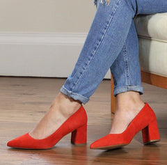 Lisa Kay red suede block heel shoes