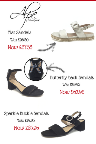 N.Shelley summer sale 30% off alpe summer sandals and trainers