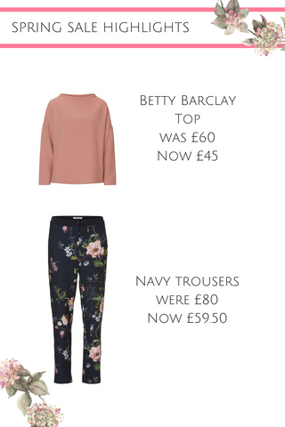 spring sale betty barclay pink jumper floral trousers 30% off