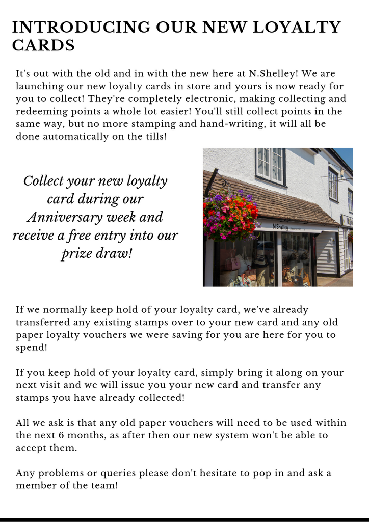 N.Shelley 95th anniversary week 8th - 13th april 2019 new loyalty cards