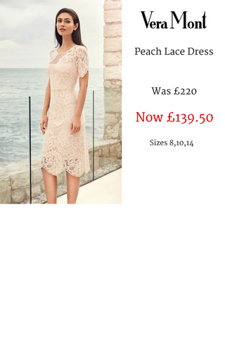 Vera Mont Peach lace dress summer occasionwear sale