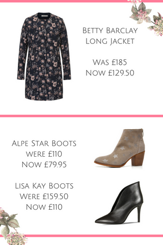 spring sale 30% off betty barclay floral coat alpe star boots lisa kay shoe boots