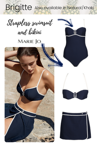 Marie jo swimwear Brigitte navy and natural cream swimsuit bikini and skirt