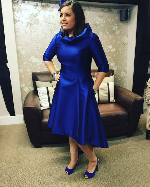 Fely Campo electric blue dress and jacket mother of the bride groom guest of wedding