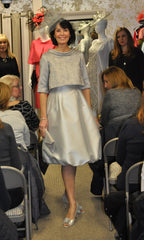 Fely Campo bubble hem silver dress mother of the bride groom