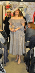 Veni Infantino taupe grey long lace dress mother of the bride groom 991404