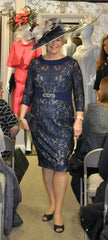 Veni Infantino navy lace dress mother of the bride groom