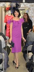 Carla Ruiz magenta pink feather trim dress mother of the bride groom 95716
