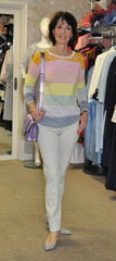 Oui rainbow sweater coccinelle lilac leather bag