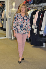 NYDJ pink jeans and NYDJ navy floral blouse