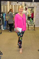 Joseph ribkoff summer 2019 pink top floral trousers