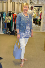 Jospeh Ribkoff denim jacket and trousers Pia Rossini beach cover up tunic top