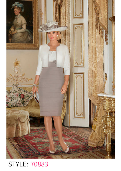 Condici 70883 cream and taupe dress and jacket spring summer 2018 mother of the bride outfit