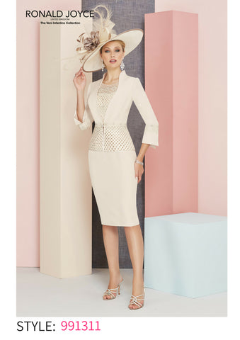 Veni Infantino 991331 dress and jacket blush beige spring summer 2018 mother of the bride outfit