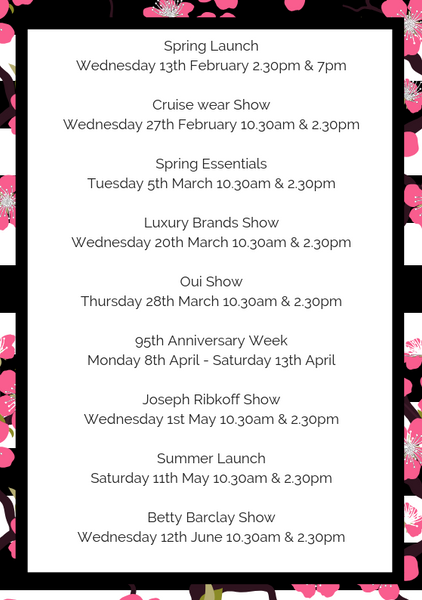 Spring summer calendar of events fashion shows