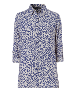 Olsen Animal Print Shirt - Blue/Cream - 12001538