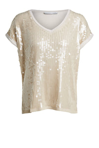 Oui Sequin Front Top - 69543 - Cream