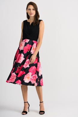 Joseph Ribkoff Floral Dress - Black/Multi Colour - 201289