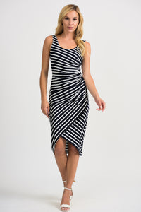 Joseph Ribkoff Ruched Dress - Black/White - 201339