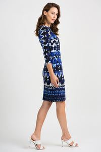 Joseph Ribkoff Abstract Dress - Black/Royal Blue - 201473