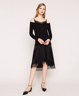 Twinset Lace Trim Dress 201TP3070 Black SS20