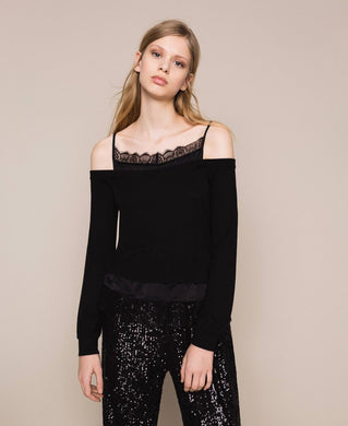 Twinset Lace Trim Sweater 201TP3073 Black SS20