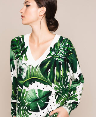 Twinset Palm Print Sweater 201TP3263 Green SS20