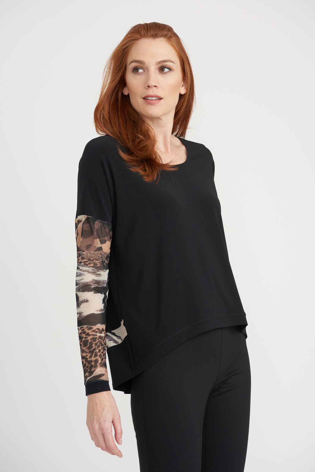 Joseph Ribkoff Top with Mesh Sleeves 203445