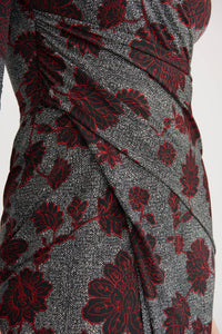 Joseph Ribkoff Herringbone & Floral Print Dress